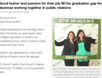 Good humor and passion for their job fill the graduation gap for alumnae working together in public relations