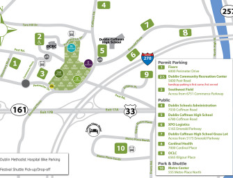 Parking Accommodations for the Dublin Irish Festival Aug. 5, 6, & 7